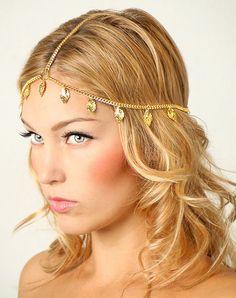 Plumes cheveux bijoux feuille métal or bandeau par Mintloftcom