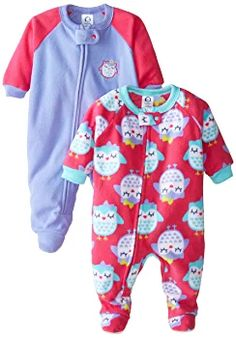 e60f83f6aa Amazon.com  Gerber Baby and Little Girls  2 Pack Blanket Sleepers  Clothing