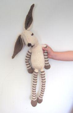 Childs stuffed Rabbit Bunny knitted soft toy. $45.00, via Etsy.