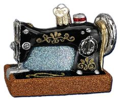 Sewing Machine Ornament, Old World Christmas glass and glitter sewing machine ornament