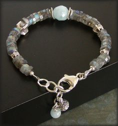 Labradorite bracelet with aquamarine and silver