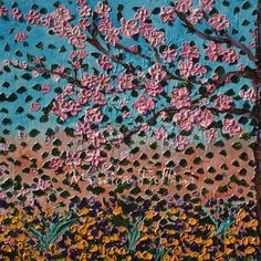 Garden with Cherry tree painting great texture Cherry blossom by artist Fallini #Abstract