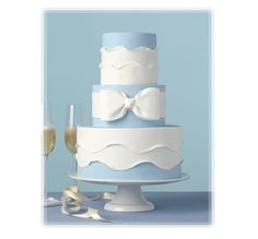 Pretty Pale Blue Wedding Cake With White Bow