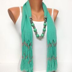 solid color soft jewelry scarf with beads