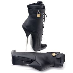 """JIALUOWEI Extreme Thin Heels 7"""" MJ Ballet Lock Ankle Boots Cosplay Goth Fetish 5-15 Stiletto Boots, High Heel Boots, High Heels, Ankle Boots, Sexy Heels, Shoes Heels, Cosplay, Lady, Womens Fashion"""