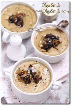 Zupa pieczarkowa kremowa Olgi Smile #healthyeatingrecipe Appetizer Recipes, Soup Recipes, Snack Recipes, Cooking Recipes, Good Food, Yummy Food, Breakfast Lunch Dinner, Healthy Eating Recipes, Special Recipes