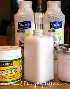 DIY shave cream - lotion, coconut oil, shampoo, conditioner = much cheaper!
