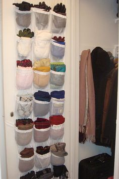 use shoe holder for mittens, scarfs, etc