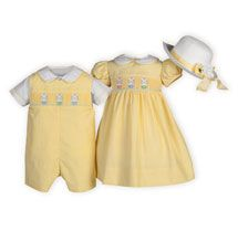 The perfect matching Easter outfits in yellow cotton/poly with adorable hand-smocked bunnies in baskets motif.The Wooden Soldier Toddler Outfits, Boy Outfits, Kids Party Wear, Girls Smocked Dresses, Sewing Baby Clothes, Girls Special Occasion Dresses, Dresses For Tweens, Easter Outfit, Matching Outfits