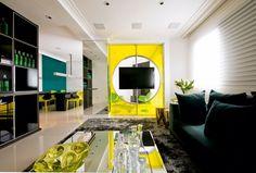 Innendesign modern Einrichten-Farb Glas-Element Deko