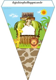 Digital Birthday Kit Safari Boy Theme to Print - Simple Digital Invitations Safari Party, Zoo Animal Party, Safari Theme Birthday, Jungle Party, Jungle Safari, Animal Birthday, Safari Animals, Party Printables, Baby Scrapbook