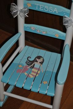 Getting started The gliding motion of a glider or rocking chair will add to the soothing effect your baby feels when being held, and there's nothing better than a cozy glider for you for quic… Painted Kids Chairs, Painted Rocking Chairs, Whimsical Painted Furniture, Painted Stools, Childrens Rocking Chairs, Hand Painted Furniture, Painted Childs Chair, Nursery Furniture, Kids Furniture