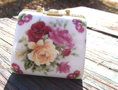 Vintage Ceramic Purse Shaped Trinket Box With Flowers by SiriusFun, $6.00