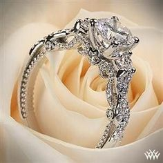 18k white gold Verragio braided 3 stone engagement ring... Gorgeous!!! #UniqueEngagementRings