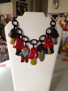 Another Parisian resin necklace, gnomes and toadstools!