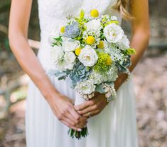 succulent bouquet with yellow + white