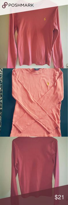 Ralph Lauren Sport Polo Pink/Coral Sweater Ralph Lauren Sport Long Sleeve Sweater   Pink/Coral Color With Yellow Polo Emblem   Size L (Fits more like a Medium)  Good Condition (No snags or tears)  22.5in Long  17in Wide  Any Questions? Just ask :) Ralph Lauren Sweaters Crew & Scoop Necks