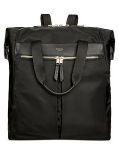 Get two stylish options for navigating your busy day with this convertible backpack from Knomo London, featuring protection for a laptop and tablet within its durable, leather-trimmed exterior.   Nylo