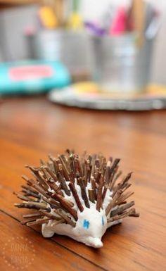 Australian animal craft kids: cute Aussie clay and stick echidna