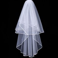 Simple Waterfall Two-tier Ribbon Edging Wedding Veil
