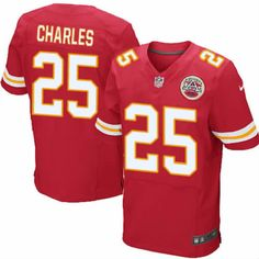 Jamaal Charles Jersey Kansas City Chiefs #25 Mens Red Elite Jersey Nike NFL Jersey Sale