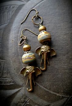 Elephants Brass Lampwork Glass African Beads Hoops by YuccaBloom