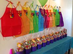 Art Party - buckets for favors are a good idea. The aprons and the necklaces made from bubblegum are awesome! Perfect for kids birthday party. Rainbow Birthday Party, 6th Birthday Parties, Birthday Ideas, 7th Birthday, Artist Birthday Party, Rainbow Parties, 2 Year Old Birthday Party Girl, Art Birthday Cake, Rainbow Party Favors