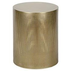 Orelia Modern Gold Brass Metal Mesh Drum Side Table - 20.5H | Kathy Kuo Home