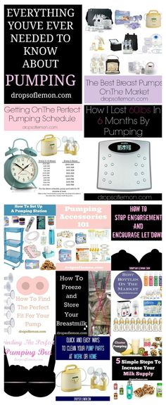 This post has everything you need to know about pumping milk. You will find the best pumps on the market, learn about getting on a pumping schedule, how to increase your milk supply to its fullest amount, how to lose weight while pumping, get some ideas for setting up a pumping station or command center, find out what the best and most important pumping accessories to get, figure out how to encourage let down and prevent engorgement, find the best pumping bras, how to freeze milk and more.