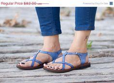 Sale 20% OFF Blue Leather Sandals Blue Sandals Summer by BangiShop