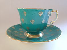 Vintage Turquoise Fleur de Lis Teacup and Saucer, Aynsley Tea Cup, English Tea Cups, Tea Set, Cups and Saucers, Aqua Cup, Vintage Teacups by AprilsLuxuries on Etsy https://www.etsy.com/listing/192821906/vintage-turquoise-fleur-de-lis-teacup                                                                                                                                                                                 More