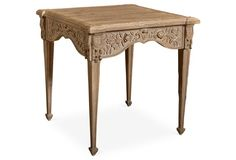 Carved Side Table, Weathered Natural