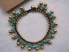 Gold brass beads and brass bells bracelet anklet turquoise nugget for summer on Etsy, ฿310.46