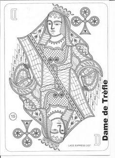 Dame de Trèfle Colouring Pages, Adult Coloring Pages, Coloring Books, Lace Art, Bobbin Lace Patterns, Lacemaking, Needle Lace, Irish Lace, Irish Crochet