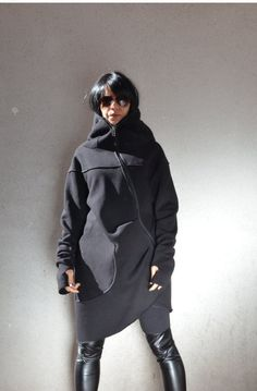 Oversized Maxi Hoodie Asymmetric Extravagant Outwear coat - Black Baggy Cape Style Asymmetrical Long Womens Outerwear Top / Quilted Lined Cotton Jacket /  Gorgeous Hooded Black Quilted Coat / Extra Long sleeves Extravagant and Unique Black Asymmetrical Coat  With Double Sided Zipper and large pocket  Get a super effortless style down to a tee with this cool oversized maxi hoodie Asymmetric Extravagant Outwear coat . Laid-back luxe is in at and youll certainly rock it in this un...