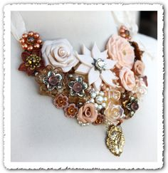 Majesty // Vanilla, Caramel and Peach Flowers, Vintage Jewelry, Pearls and Crystal Statement Bib Necklace OOAK