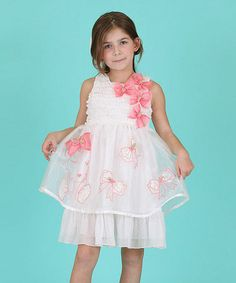 Love this White & Pink Bow Girl Layered Dress - Toddler & Girls by Bonny Billy on #zulily! #zulilyfinds