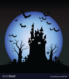Halloween scene vector image on VectorStock Halloween Backdrop, Halloween City, Spooky Halloween Decorations, Halloween Scene, Halloween Haunted Houses, Halloween Design, Halloween Themes, Halloween Drawings, Halloween Illustration