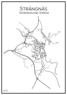 Strängnäs. Sweden. Map. City print. Print.