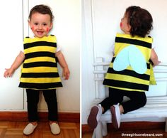 Bee costume for kids, carnival and Halloween - Disfraz de abeja para niños, disfraces animales carnaval