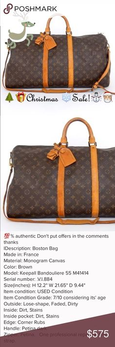LOUIS VUITTON 55 bandouliere duffle Boston Vintage Please read both listings for this bag! It's vintage and I have highlighted the flaws. Please read the picture descriptions as well. The strap was repaired by a professional Leather repair place called George's in Saint Paul.        hopefully you'll have safe and fun travels with this amazing bag! ❄️️☃️❄️️.    I don't trade, sorry. And please only offer through the offer button! Thanks! Louis Vuitton Bags Travel Bags
