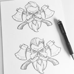 "2,785 To se mi líbí, 21 komentářů – Jared Mirabile (@sweyda) na Instagramu: ""Lumberjack skulls! #pencil #sketch #lumberjack #illustration #Sweyda #studio life #analog"""