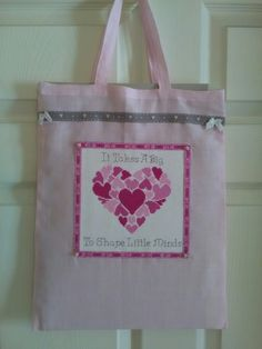 Cross stitch teacher gift bag Teacher Gifts, Cross Stitch, Reusable Tote Bags, Shapes, Projects, Crossstitch, Log Projects, Presents For Teachers, Teacher Appreciation Gifts