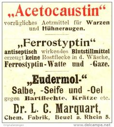 Original-Werbung/ Anzeige 1906 - ACETOCAUSTIN / FERROSTYPTIN / EUDERMOL / CHEM. FABRIK MARQUART BEUEL - ca. 40…