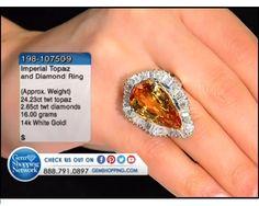 24.23 ctw Imperial Topaz & 2.65 ctw Diamond 14K White Gold Ring (16.00 gram weight)