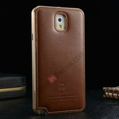 Deluxe All Metal Aluminum Case   Genuine Leather Protective back For Samsung Galaxy Note3 N9000 - Champagne US$35.99