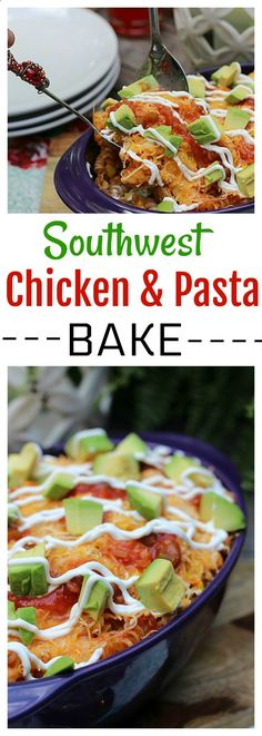 This easy Southwest Chicken and Pasta Bake made with simple ingredients from @Walmart is a perfect weeknight dinner that the whole family is sure to adore! #CampbellsShortcutMeals #ad