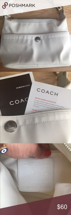 Coach white vinyl material small bag. Super cute Coach Hampton weekend bag. Vinyl material, a couple little yellowish stains I showed on pic that you can barely see. No dust bag. Very authentic. No Trades. Coach Bags Shoulder Bags