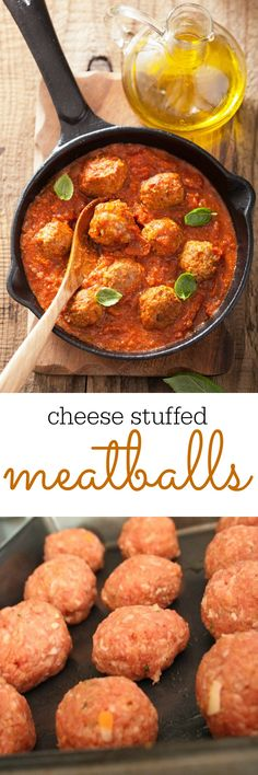 These cheese stuffed meatballs come together quickly with just a few ingredients making them the perfect weeknight meal, either on their own, in a meatball sub, or in your favorite pasta sauce