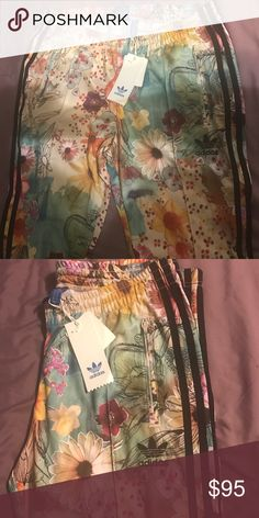 Adidas floral pants Brand new adorable floral adidas pants ready to be added to the next stylish closet. Medium fit. For a 32-34 inch waist adidas Pants Jumpsuits & Rompers